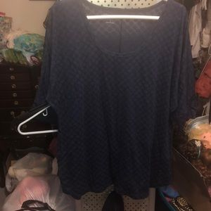 Blouse navy blue with poke c dots